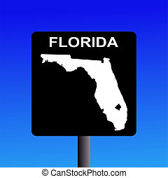 Florida highway sign - Blank Florida highway sign on blue...