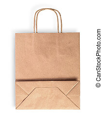 Blank folded brown paper bag for food