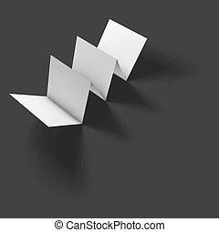 Blank folded paper brochure mockup.