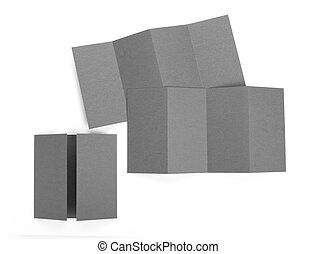 Blank folded paper leaflet or flyer mockup.