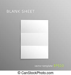 Blank folded paper sheet