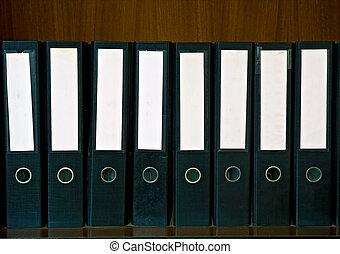 blank folden on shelf