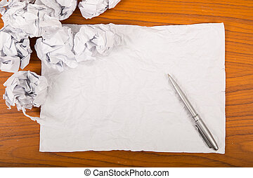 Blank for new beginning to start new project with crumpled paper
