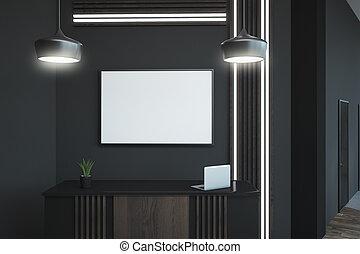 blank frame above reception desk