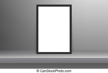 Blank frame in Empty white color shelf