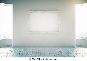 Blank frame in white room