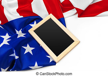 Blank frame on American flag background. Close up.