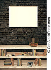 Blank frame on black brick wall