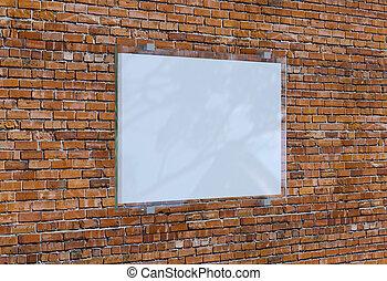 Blank frame on brick wall. 3D rendering