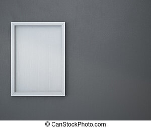 Blank frame on gray wall.
