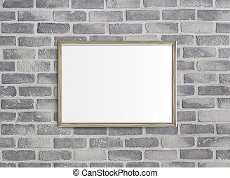 3D illustration of blank frame isolated on old grey brick wall