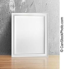 blank frame standing in room