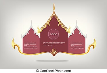 Blank frame Thai pattern gold colour on the floor, premium