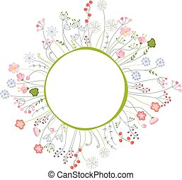 Blank frame with different flowers and herbs