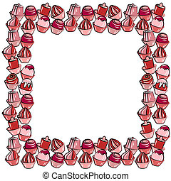 Blank frame with different stylized sweets