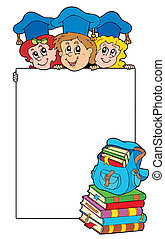 Blank frame with graduating kids - vector illustration.