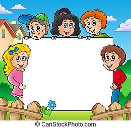 Blank frame with various kids - color illustration.