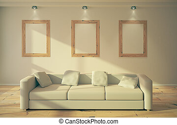 blank frames in loft interior - Three blank wooden frames ...