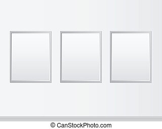 Art Gallery - Blank Frames Of Paintings On A Wall In An Art...
