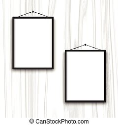 blank frames on wood background 0902