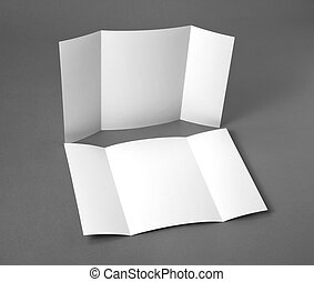 Blank gate fold brochure on grey to replace your design. - ...