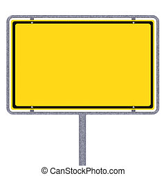 Blank German city limits sign over white background