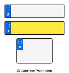 Blank German Licence Plates - Blank German vehicle licence...
