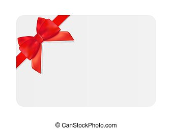 Blank Gift Card Template with Red Bow and Ribbon. Vector Illustration for Your Business