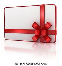 blank gift card with red ribbon
