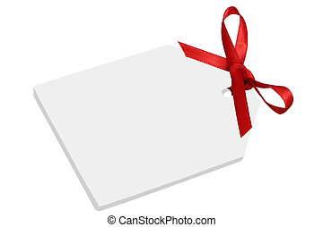 Blank gift or price tag with bow