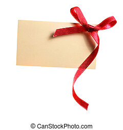 Blank gift tag tied with a bow of red satin ribbon. Isolated...
