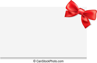 Blank Gift Tag With Bow, Isolated On White Background, ...
