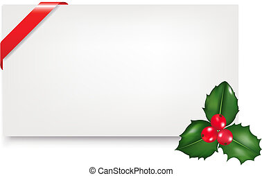 Blank Gift Tag With Holly Berry