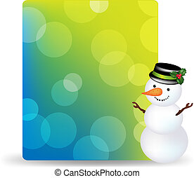Blank Gift Tag With Snowman And With Cap
