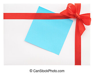 Blank gift with a red bow