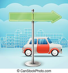 Blank glass arrow board. City trafic illustration. Template for a text. Direction to the right