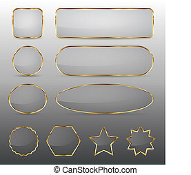 Blank glass buttons with gold frame - Set of 10 elegant ...