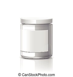 blank glass jar with label