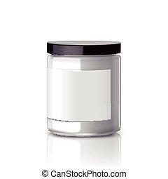 blank glass jar with label