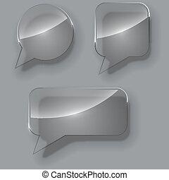 Blank glass speech bubbles