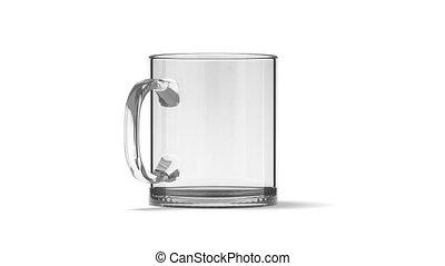 Blank glass tea mug mockup isolated, looped rotation,...