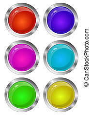 Blank Glossy Round 3D Button Set. Collection.