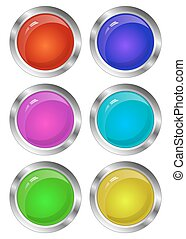 Blank Glossy Round 3D Button Set. Collection. Vector
