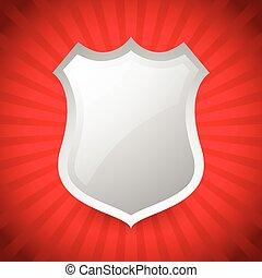 Blank glossy shield shape over red sunburst, starburst background
