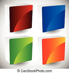 Blank glossy square buttons with rounded corners, vector. Set of 4 colors. Faces of squares consist of 2 pieces.