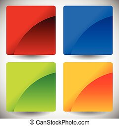 Blank glossy square buttons with rounded corners, vector. Set of 4 colors. Squares consist of 2 pieces.