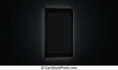 Blank glowing poster mockup in illuminated glass holder,...