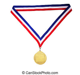 Blank gold medal with tricolor ribbon isolated on white...