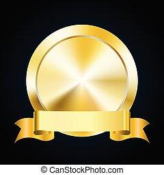 Blank gold medal token and ribbon banner, vector illustration of award