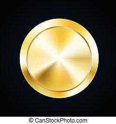 Blank gold medal token, vector illustration of award